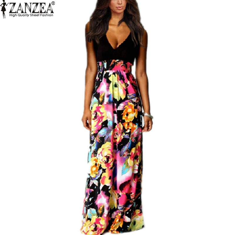 High Quality 2015 Brand NEW Summer Women Floral Chiffon Long Dresses V-Neck Beach Patchwork Boho Maxi Sundress Plus Size S-3XL(China (Mainland))