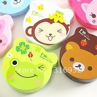 Free Shipping Wholesale color contact lens case/color cute contact lens case /cartoon glasses Box