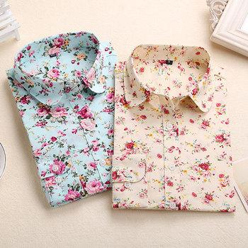 Цветочные блузки хлопковые рубашки женщины блузка свободного покроя дамы топ с отложным ...