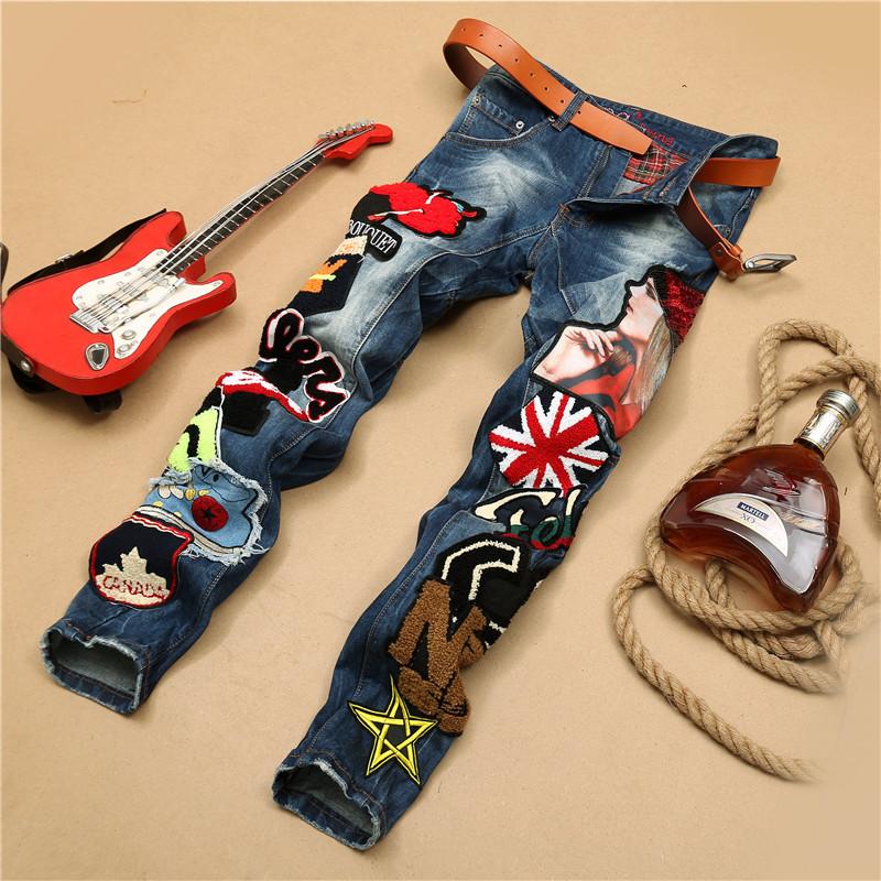Hot Sale Ripped Jeans Men Famous Brand Mens Robin Jeans 2016 Skinny Jeans Homme Fashion Denim Overalls Men Mens Biker Jeans