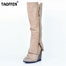 Buy Size 34-47 Women Shoes Autumn Winter Ladies Fashion Wedge High Heel Boots Knee Thigh High Suede Long Boot Brand Designer for $64.88 in AliExpress store
