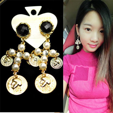 Fashion baroque Retro Exaggerated Pearl Cross Personality Beauty Flower Head Earrings Women Accessories - Sycamore Trade store