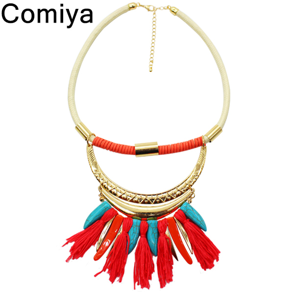 Red Tassel colares femininos collar statement necklace chunky rope bohemia ethnic blue stone pendents necklaces brand jewelry(China (Mainland))
