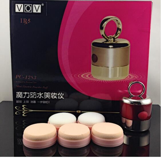 Hot Selling Gift Beauty 6 in1 Vibration Power Foundation Puff Electric Powder Puff Makeup Sponge Mini Comestic Puff(China (Mainland))