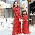 2016 Autumn Matching Mother and Daughter Long Sleeve Bohemian Pure Cotton Dress Family Matching Clothing Outfit