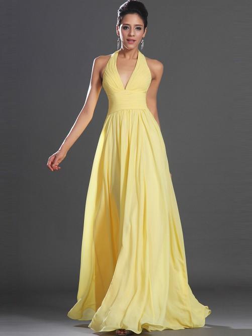 Yellow Chiffon Bridesmaid Dresses 86