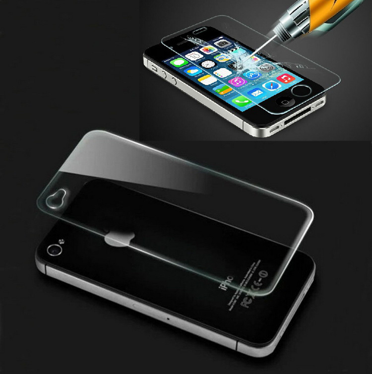 Front and Back for iPhone 4 4S 4G 2.5D 0.26mm 9H High Quality Tempered Glass Film Screen Protector for iphone 4s()