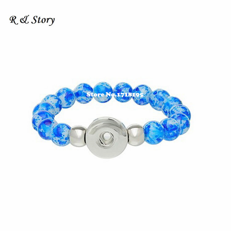 2015 New Fashion Snap Button Stretch Bracelet DIY Glass Beads Royalblue Charms SB_247(China (Mainland))