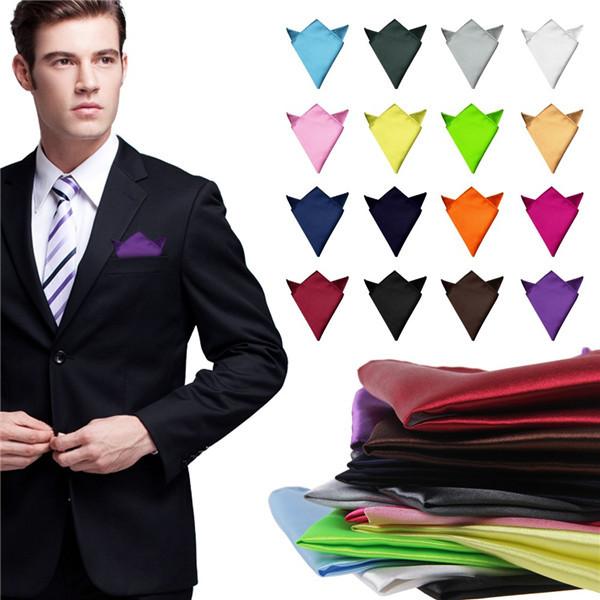 Fashion Chic Men's Formal Suits Plain Solid Satin Pocket Square Handkerchief Wedding Party Gentlemen Men Hanky Free Shipping(China (Mainland))