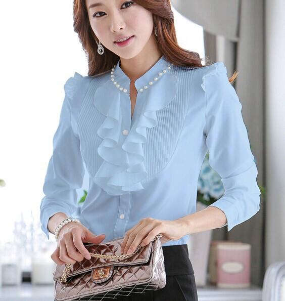 2015 Spring Autumn New Women Fashion Blouses Long Sleeve Slim Ruffles Chiffon Top Women Shirts Beading chiffon tops 682D 23(China (Mainland))