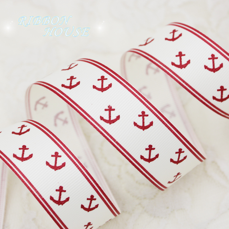 (2 meters/lot) 1'' (25mm) Red printed grosgrain ribbon Sea Anchor Series ribbons gift wrap ribbons(China (Mainland))