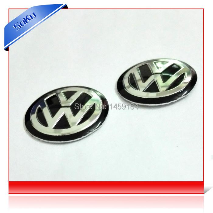 3D VW Auto Key Fob Remote black Emblem 10pcs/lot 14mm Remote Key Fob Logo Badge Sticker For Volkswagen Jetta Golf Passat(China (Mainland))