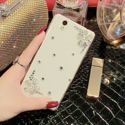 SK Fashion Bling Crystal Diamond Flower Cat Transparent Cover Case ZTE Blade X3 D2