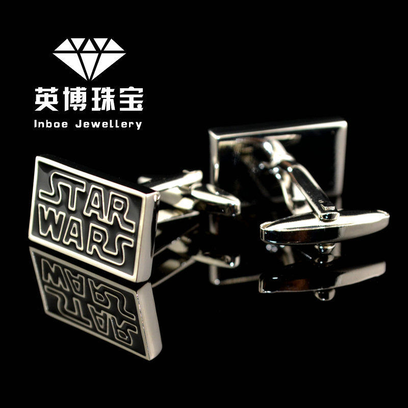 INBOE Jewellery silver The star wars cufflinks male French shirt cuff links for men's Jewelry Gift free shipping 950037(China (Mainland))