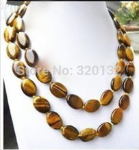 """Natural 13x18MM Oval Tiger Eye Beads Necklace 36"""" Solid Gold Clasp Silver Hook bridal Woman's Jewellery(China (Mainland))"""