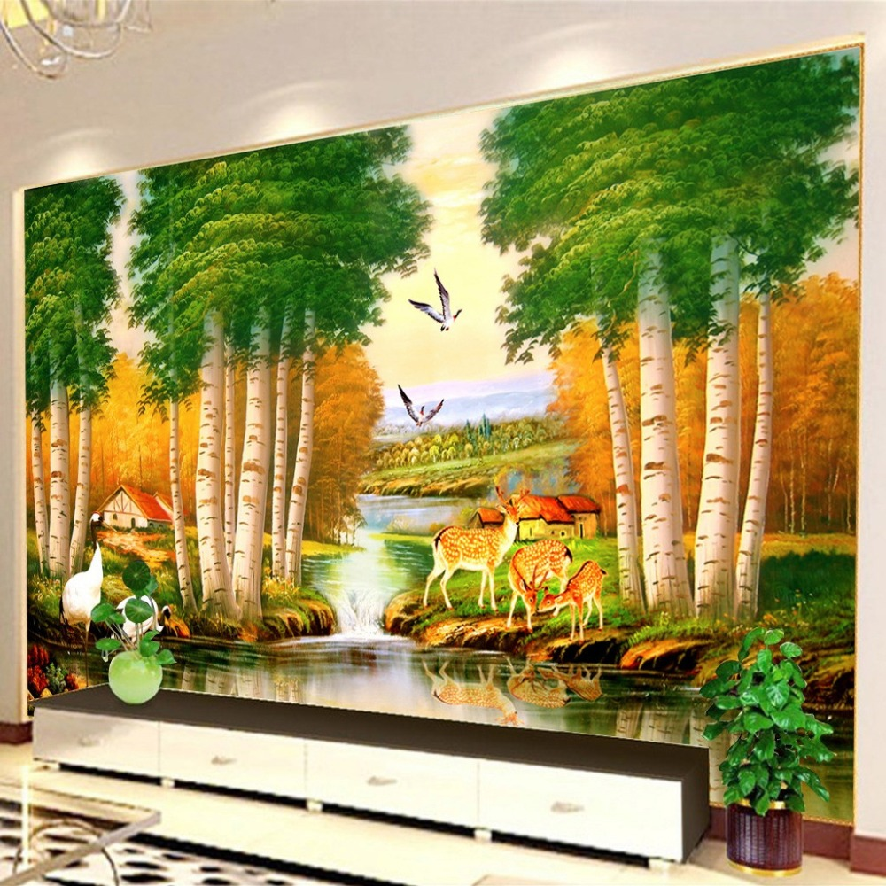 Forest wall murals u0026 tree forest wall murals u0026 for Aspen tree wall mural