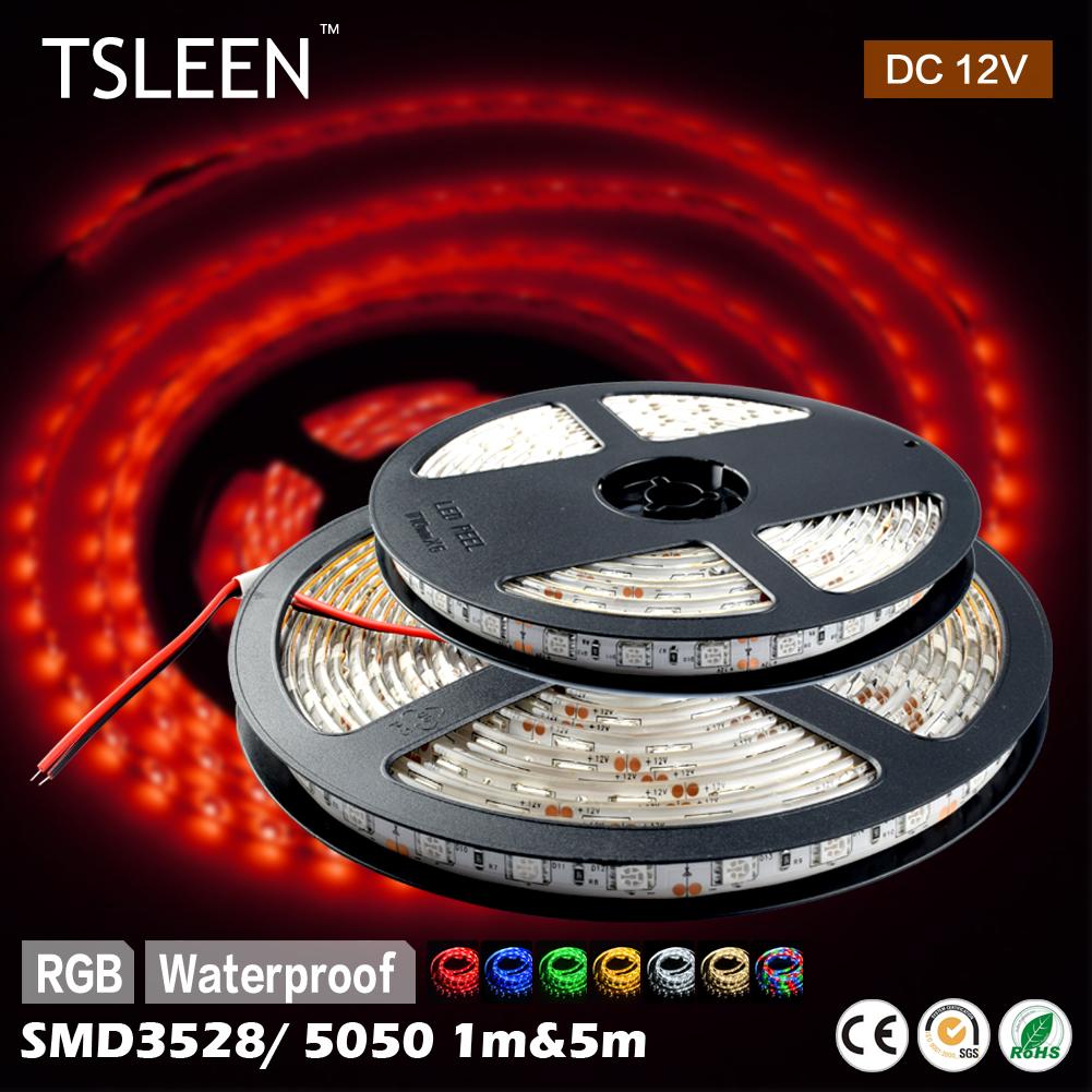 TSLEEN Full Color RGB 1M 60LEDs Flexible LED Strip Light Roll Super Bright SMD 5050 3528 Waterproof/No Waterproof Bulbs(China (Mainland))