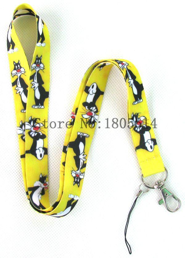 Lot 10pcs Anime Cartoon Yellow Black TOM Cat Logo LANYARD,Key Card ID Chain Neck Straps LANYARDS Party Gifts(China (Mainland))