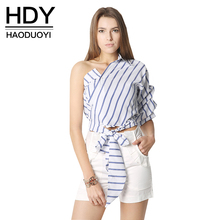 Buy HDY Haoduoyi Striped Women Blouses One Shoulder V-neck Half Puff Sleeve Casual Shirts Women Bow Ruffle Tie Waist Slim Tops for $11.09 in AliExpress store
