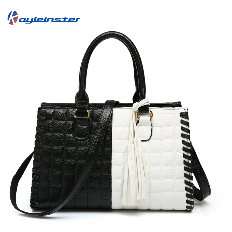 New 2015 Composite Leather Women Handbag Fashion Patchwork Women Shoulder Bag Classic Black and White Panelled