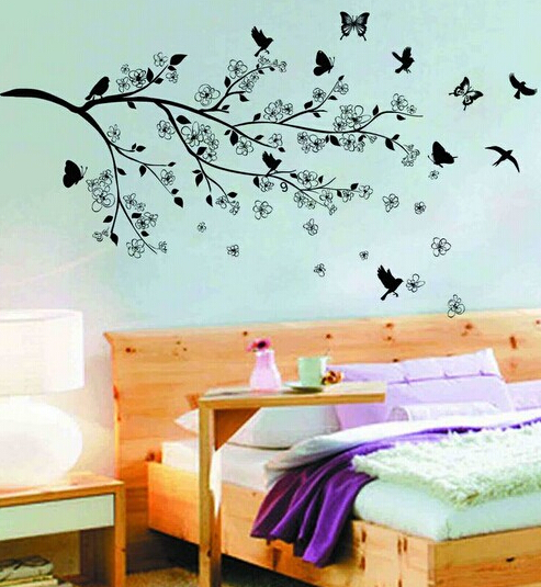 Free shipping 110*160cm removable vinyl black flower tree wall decal bedroom wallpaper(China (Mainland))