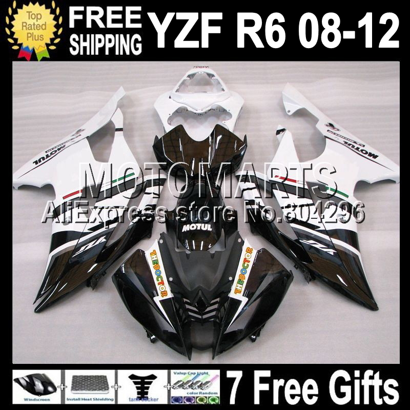 7gifts For YAMAHA YZF R6 08 09 10 11 12 YZF 600 FIAT Black white YZFR6 YZF-R6 Q97400 2008 2009 2010 2011 2012 YZF600 Fairing(China (Mainland))