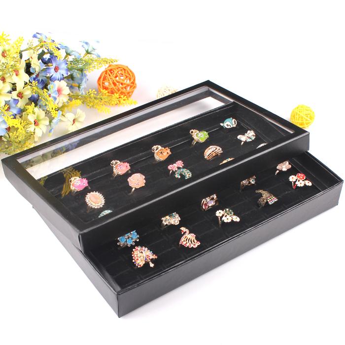 A03-1 Free shipping Organizer Show Case Jewelry Display Rings Holder Box New Black100 Slots Ring Storage Ear Pin Display Box(China (Mainland))