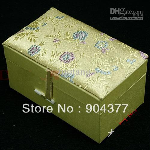 Elegant Cotton Filled Jade Stone Packaging Box High End Ceramic Crafts Silk Brocade Gift Boxes 12x7x6.5 cm 5pcs/lot mix color(China (Mainland))