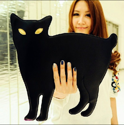 Women leather handbags Sling Bag cat bags black chain Cat Shape Women messenger bags for lady crossbody tote bag clutch bolsas(China (Mainland))
