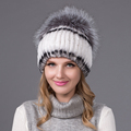 2016 Winter Warm Thick Earmuffs Women Knitted Hats Real Rex Rabbit Fur Cap With Silver Fox