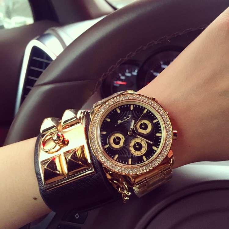 Luxury Brand Нержавеющей Стали 6 Глаза Кварцевые Часы Женщины Женская одежда Кристалл Платье Наручные Часы Женский Часы Montre Femme OP001