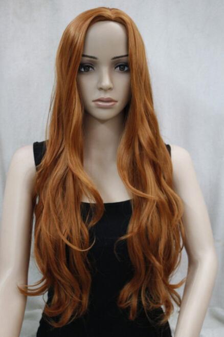 DYZ+++524 fashion no bangs side skin top orange brown synthetic women's wavy long wig(China (Mainland))