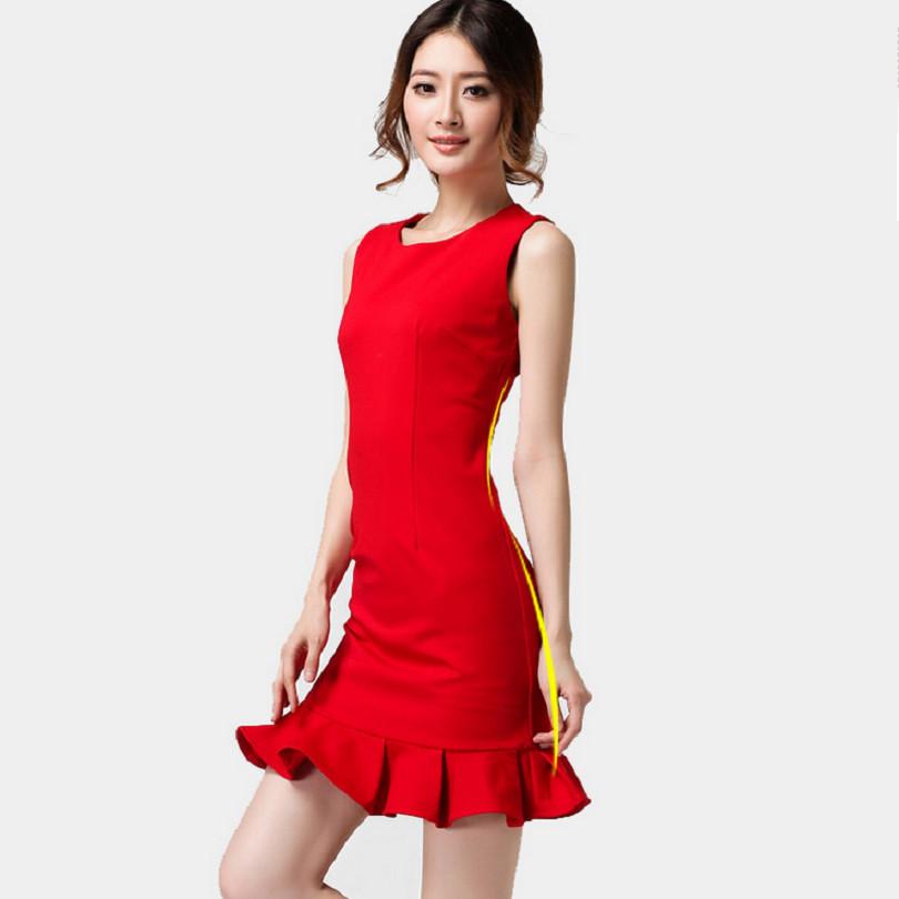 Autumn Winter Red Dress Vestidos Sleeveless Ruffles