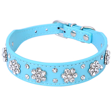 Buy New Cute Bling Rhinestone Flowers Dog Collar Diamante Small Pet Cat Puppy PU Leather Collar Necklace Buckle Size S M XQ076 for $2.27 in AliExpress store