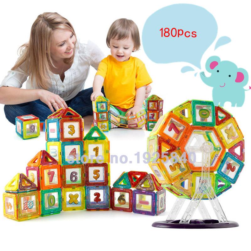 Mini 180pcs Magnetic Designer Construction Models Building Blocks Toys Kit 3D DIY Plastic Learning Educational Bricks For Kids(China (Mainland))