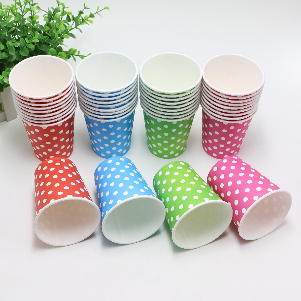 10pcs/Lot Disposable Polka Dots Paper Cups of Degradable Wedding kids Birthday Party Decoration Blue/Red/Rose red/ Green(China (Mainland))