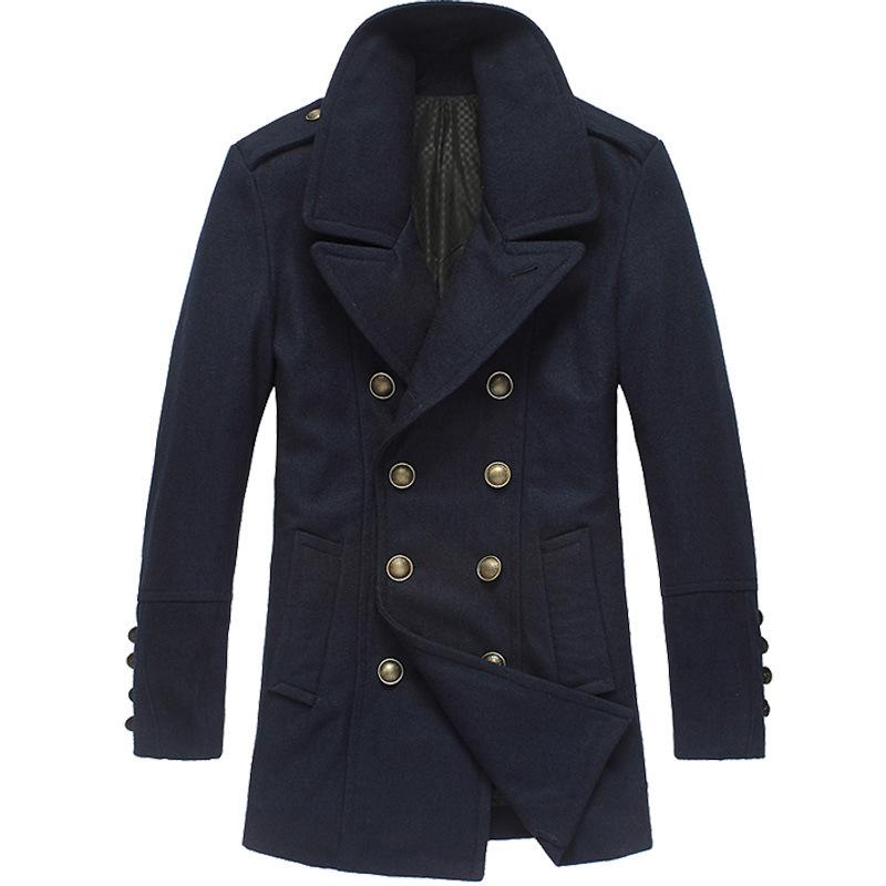 Woolen Jacket Male Military Winter Double-Breasted Mens Pea Coat British Style Woolen Coat Jacket Mens Overcoat Woolen Blue