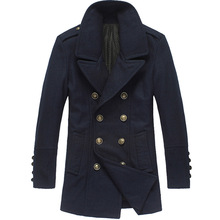 Woolen Jacket Male Military Pea Coat Winter Double-Breasted British Overcoat Caban Laine Homme Overcoat Woolen Blue Coats(China (Mainland))