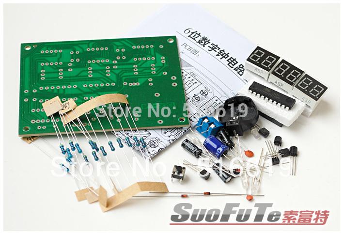 Free shipping AT89C2051 Six bit digital clock Suite Spare parts Single chip microcomputer 6 digit display clock DIY(China (Mainland))