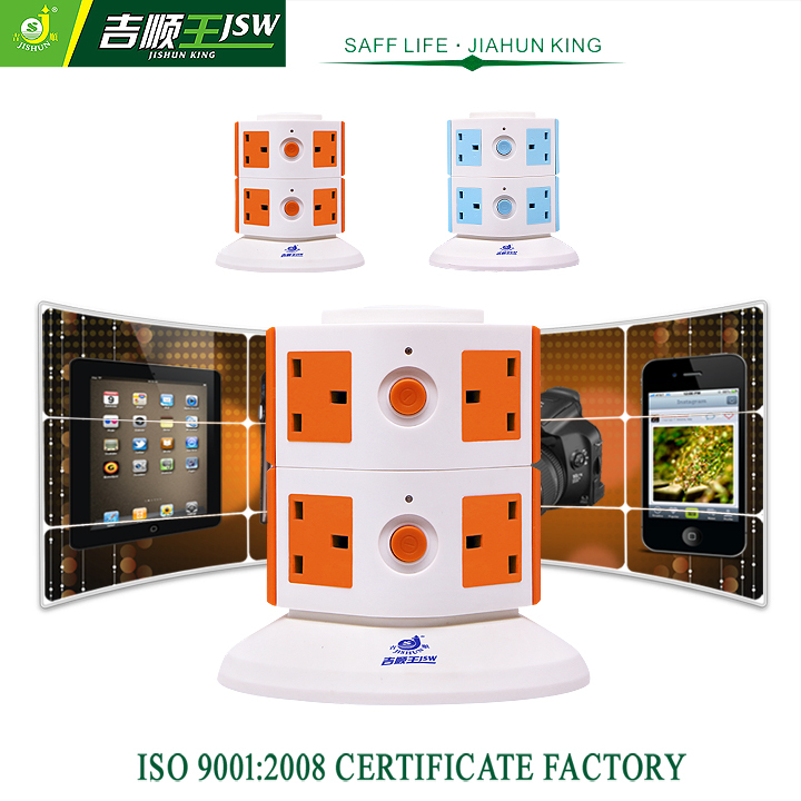 2 Layer Electrical Plug British Extension Socket 8 Outlets 250V Tower Socket Individual Switch 10A Overload Protector Retail(China (Mainland))