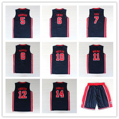 Classic Dream Team USA Basketball Jerseys 5 ROBINSON 6 EWING 7 BIRD 8 PIPPEN 10 DREXLER 11 MALONE 12 STOCKTON 13 MULLIN(China (Mainland))