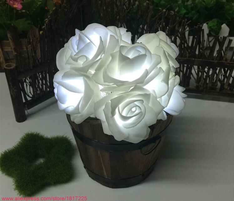 20pcs light up roses Christmas decorative rose fairy lights indoor outdoor flower light string festival party decorations lights(China (Mainland))