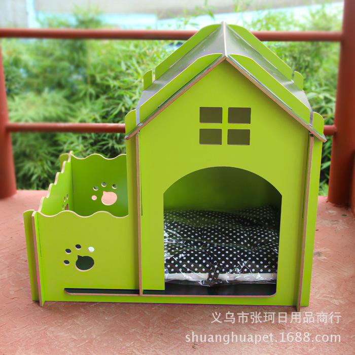 petit vert de grande hauteur villa avec un jardin bois lit pour chien chien lits pet chien chat. Black Bedroom Furniture Sets. Home Design Ideas
