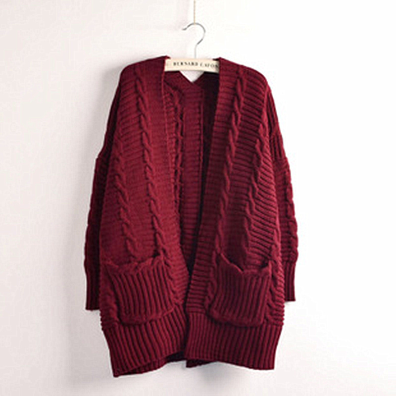 High Quality Pockets Striped Warm Womens Knitted Long Sleeve Outerwear Cardigan Women Fashion 2015 Fall Winter Sweater MF37(China (Mainland))