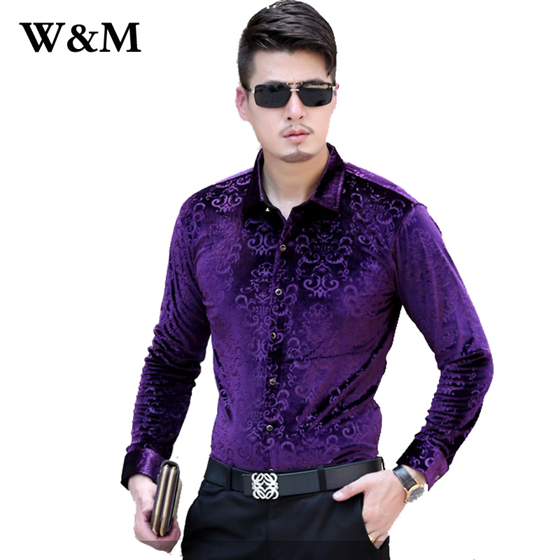 Mens dress velvet shirts french cuff business casual men for French cuff slim fit dress shirt