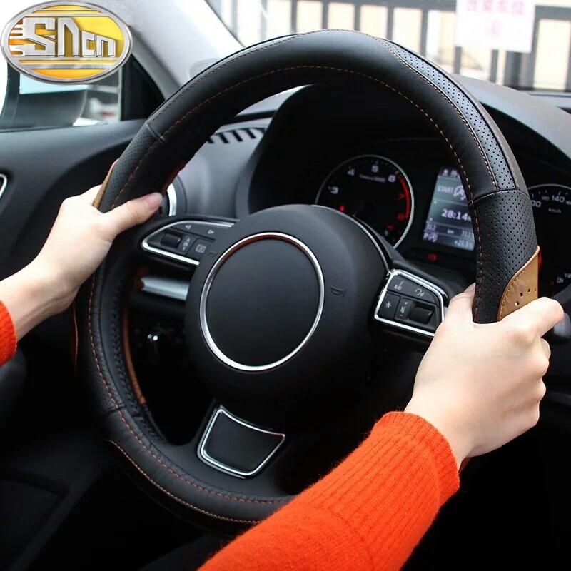 38cm/15inch Antislip Comfortable Breathe Freely Genuine Leather Car Steering Wheel Cover For Nissan Maxima Hybrid Tiida Sunny(China (Mainland))