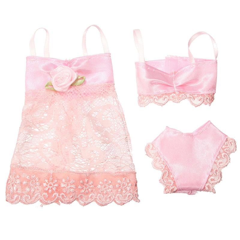3PCS/Set Colourful Attractive Pajamas Lingerie Nightwear Lace Evening Gown + Bra + Underwear Garments For Barbie DollSkirt Garments