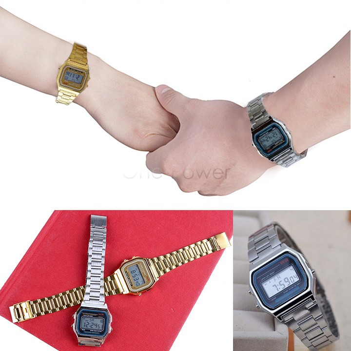 Women vintage watches man electronic digital watch gold and silver Men Wristwatch 50(China (Mainland))