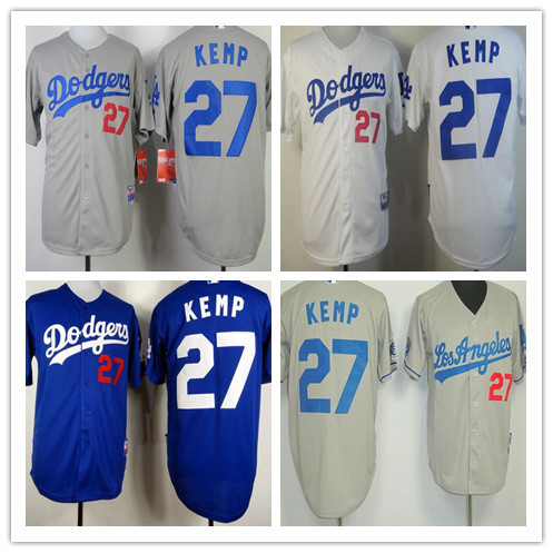 2015 New Men baseball jersey Los Angeles Dodgers #27 Matt Kemp grey Blue White Top Quality Sport Shirt Wholesale Embroidery Logo(China (Mainland))