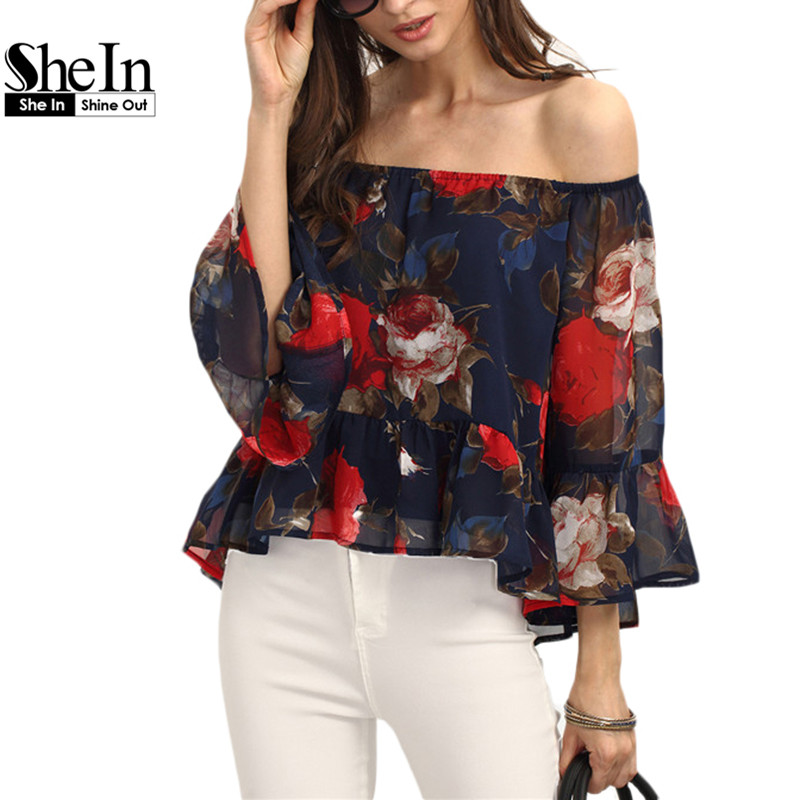 SheIn Womens Summer Vintage Tops Ladies Multicolor Three Quarter Length Butterfly Sleeve Off The Shoulder Floral Blouse(China (Mainland))